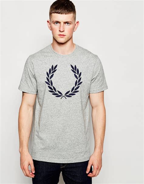 Big Laurel Shirt fred perry t shirt with laurel wreath logo grey in gray for lyst