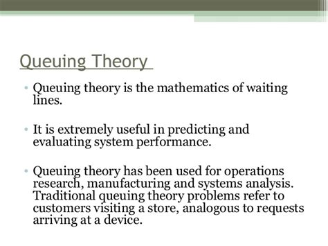 Queuing Theory Notes For Mba queuing theory