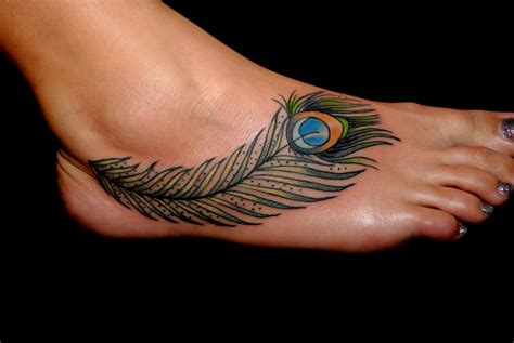 colored feather tattoo fantastic colored peacock feather on right foot
