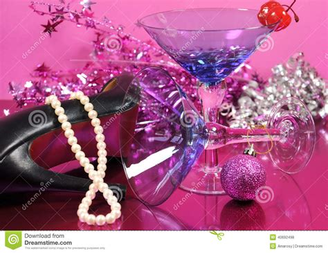 Centerpiece For Christmas Party - pink theme happy new year party with vintage blue martini cocktail glass and new years eve