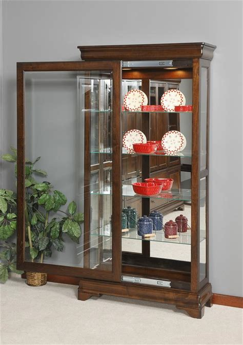 curio with sliding glass door lighted console curio cabinets matttroy