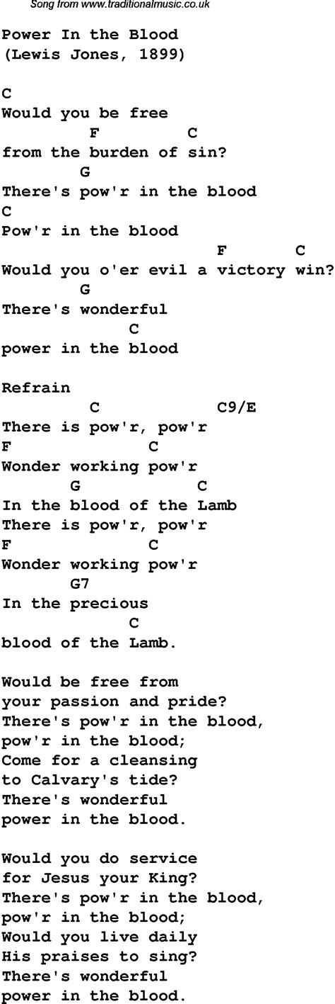 power in the blood christian gospel song lyrics and chords