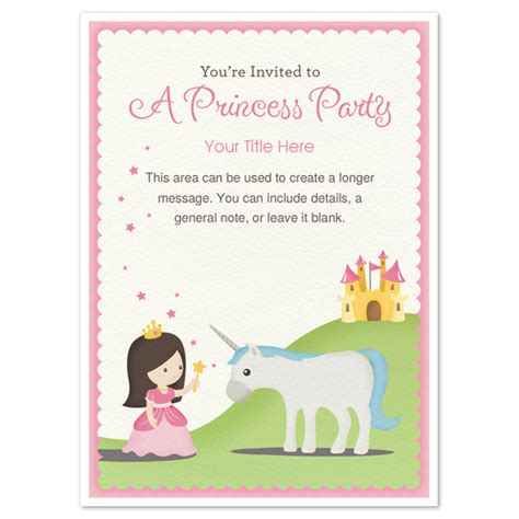 princess birthday card template princess invitations cards on pingg