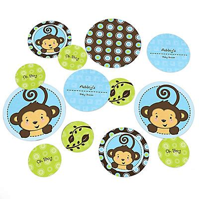 Monkey Boy Themed Baby Shower by Blue Monkey Boy Personalized Baby Shower Table Confetti