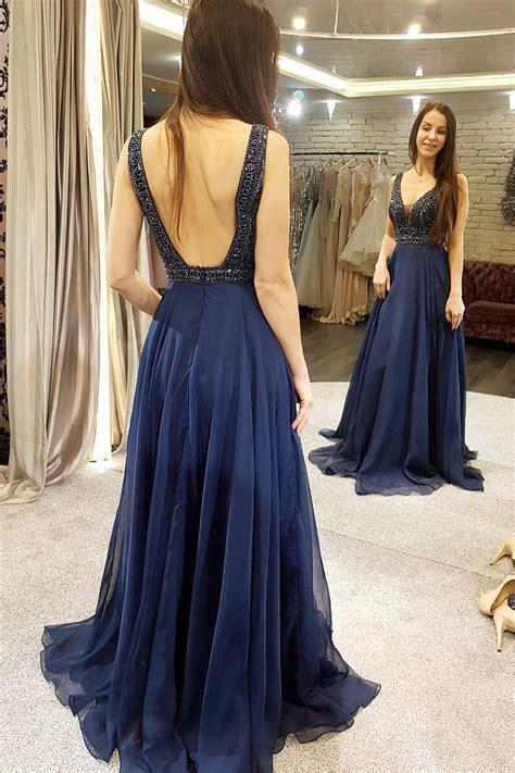 luxurious beads bodice chiffon long prom dress