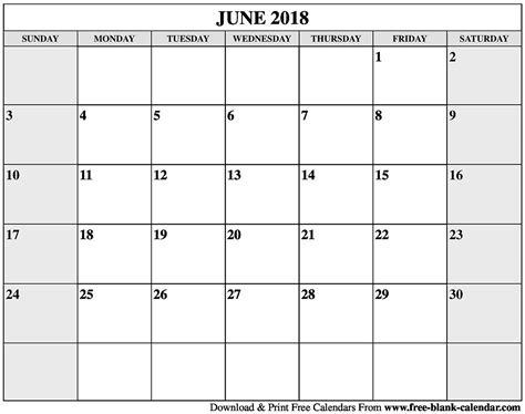 printable calendar blank 2018 blank june 2018 calendar printable