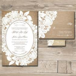 lace wedding invitation suite burlap and lace custom