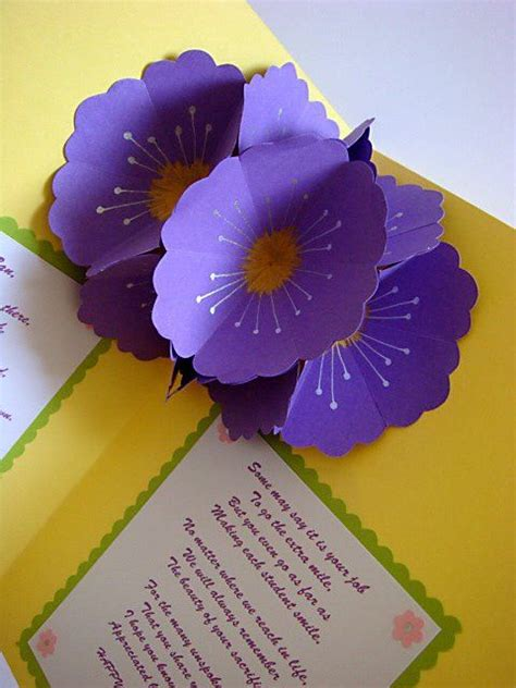 Teachers Day Handmade Greeting Cards - handmade greetings card s day pop up flowers