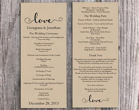 Burlap Wedding Program Template Diy Editable Word File Download Program Rustic Program Heart Free Rustic Wedding Program Templates
