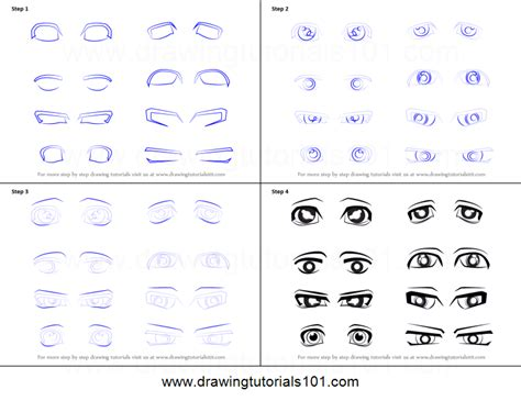 printable how to draw eyes how to draw anime eyes male printable step by step