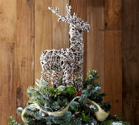 glitter twig reindeer tree topper pottery barn