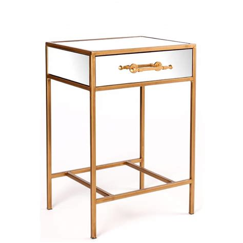 glass side table with drawer gold single drawer mirror nightstand