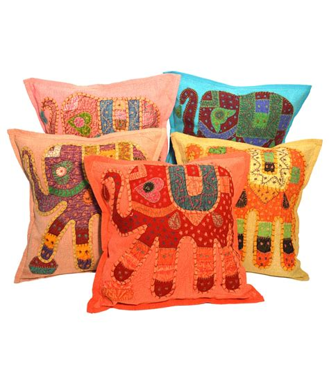 Patchwork Cushion Covers - stitched elephant patchwork cushion cover 5 set