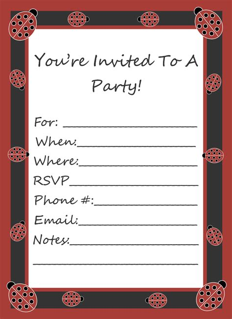blank templates for birthday invitations free clipart n images free ladybug party invitation template