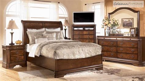 bedroom sets ashley juararo dark brown wood glass 5pc bedroom set w queen
