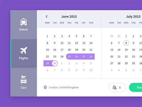 calendar design ui a really nice travel calendar ui in which you can select