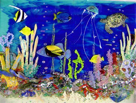 hawaiian underwater scene  kitchen backsplash designer glass mosaics