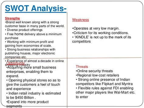 an analysis of the strengths and weaknesses of amazoncom company Swot analysis of usa today - strengths are business the profile shows a comprehensive view of the company's key strengths and weaknesses and.