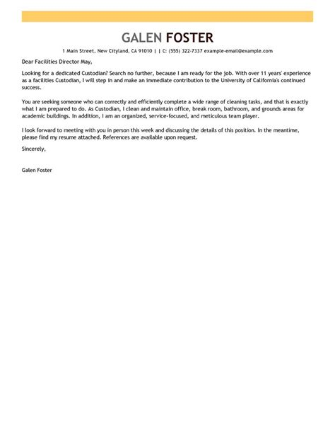 leading maintenance janitorial cover letter examples