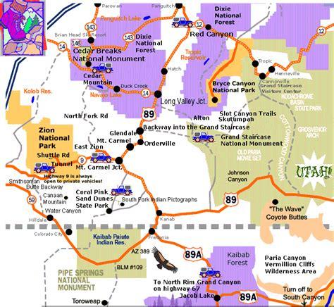 utah national parks map southern utah map