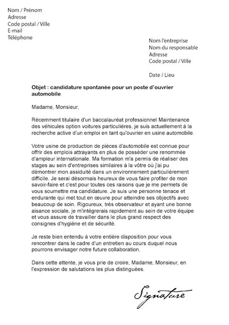 Lettre De Motivation Ouvrier De Production lettre de motivation ouvrier
