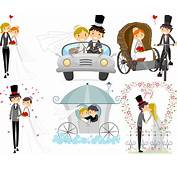 Vector Wedding Backgrounds With Happy Newlyweds  Free