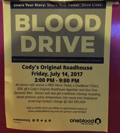 codys road house blood drive at cody s original roadhouse in stuart treasure coast connecting our