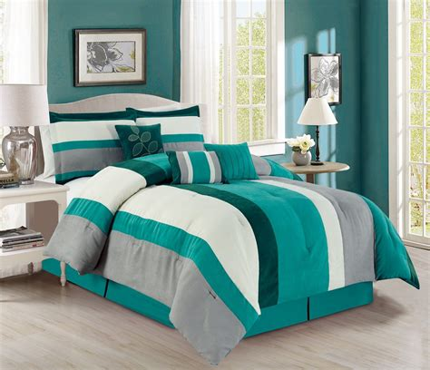 teal bed in a bag 11 piece stripe micro suede teal ivory gray bed in a bag set