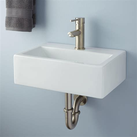 wall mount sink halley rectangular porcelain wall mount sink bathroom