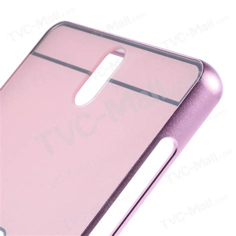 slide on metal bumper pc plate cover for sony xperia c5 ultra e5553 ultra dual e5533 pink