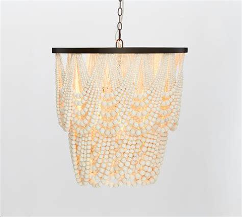 wood bead chandelier pottery barn amelia wood bead chandelier pottery barn