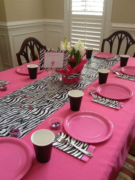 pink paper table runner set table simple a plastic zebra tablecloth folded