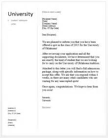 When Do College Acceptance Letters Arrive 2014 Student Admission Letter Free Sle Letters