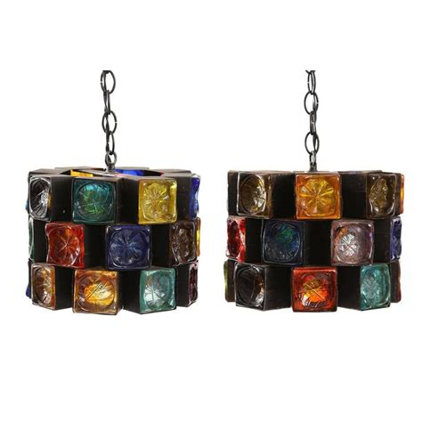 Multi Colored Chandelier Lighting Multi Colored Glass And Iron Chandelier Hanging Lights By Feders At 1stdibs
