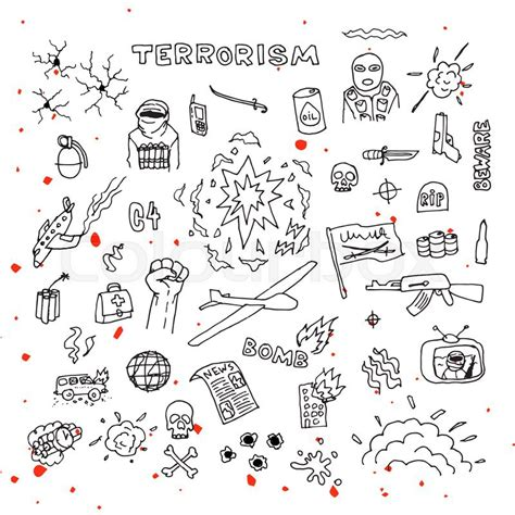 doodle terrorism terrorism doodles with blood splatters vector