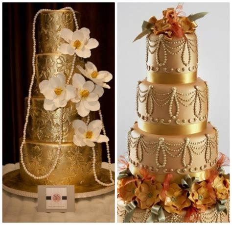 Bolo para casamento dourado   Clássico Noivas