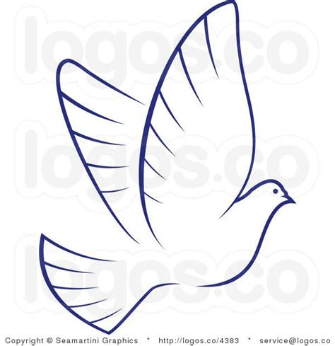 royalty free dove with blue outline logo christmas