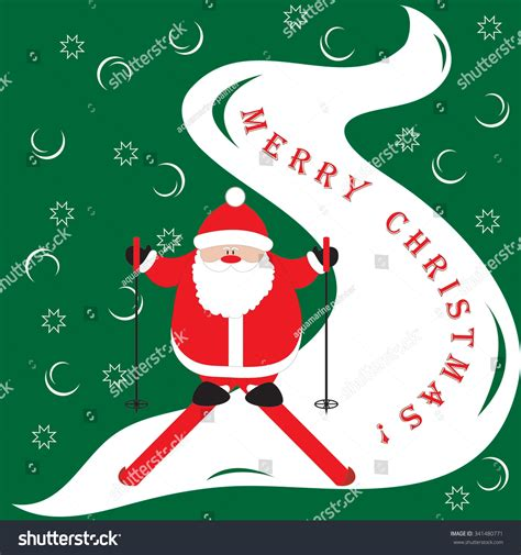 cartoon picture  santa claus moving    mountain   merry christmas stock