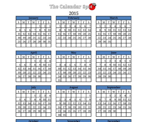 5 best images of blank calendar 2015 printable one page