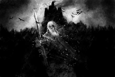 black and white wallpaper of god black and white fantasy art odin mythology gods wallpaper