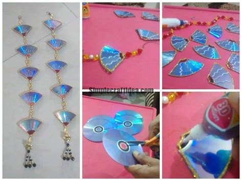 waste cd craft for door hanging from waste cd simple craft ideas