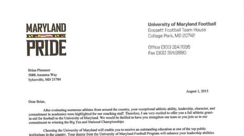 Offer Letter Là Gì Here S What An Official Maryland Football Scholarship Offer Looks Like Testudo Times