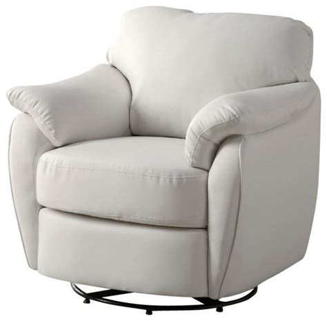 Leather Swivel Chairs For Living Room Monarch Specialties 8062 Leather Look Swivel Accent Chair In White Traditional Living Room
