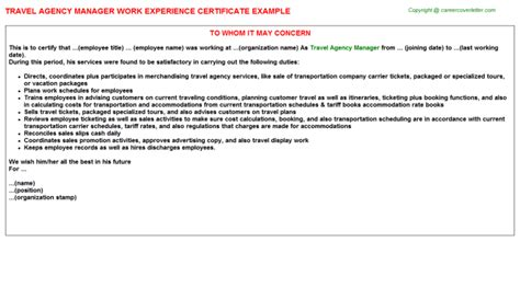 Experience Letter Travel Advertising Agency Manager Work Experience Certificates