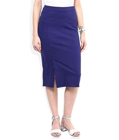 buy and blue solid pencil skirt at best prices in