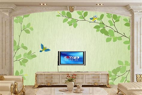 Modern Simple Bedroom Living Room Wallpaper Small Fresh Green Tree Wa large murals fresh green twig bird modern simple tv backdrop 3d wallpaper living room sofa wall