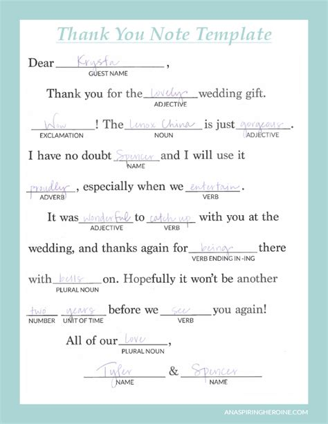 Writing Personalized Wedding Thank You Notes An Aspiring Heroine A Writing And Lifestyle Blog Wedding Shower Thank You Note Template
