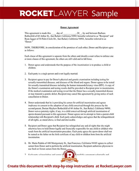 donation agreement template known donor insemination agreement contract with