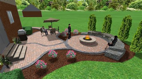 brick paver patio and pit 3d landscape designs