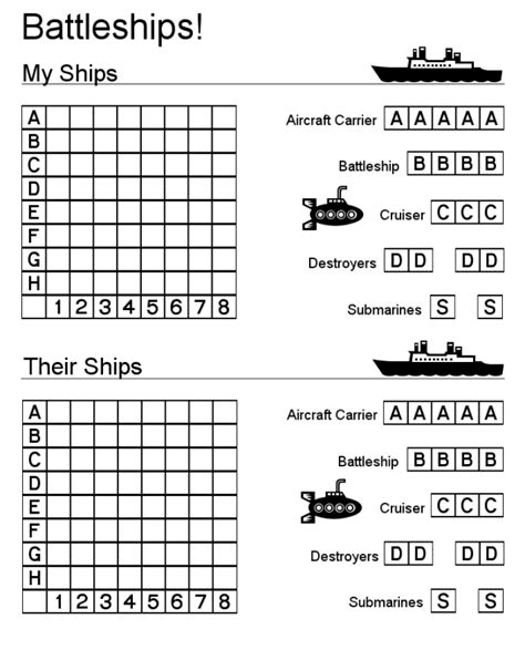 Battleships Game Learningenglish Esl Battleship Template